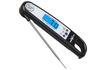 (Black) - Weicai Instant Read Meat Thermometer - Accurate Ultra-Fast Digital Food Thermometer with Calibration Function for Cooking, Grilling, Baking and More (LCD Display, Backlight, Waterproof)