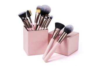 (pink) - SIXPLUS 15pcs Pink Makeup Brush Set with Makeup Holder (pink)