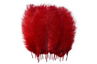 (12-14 inches (30-35cm), Red) - 10pcs Real Natural Ostrich Feathers for Home Decoration DIY Craft (Red, 12-14 inches (30-35cm))