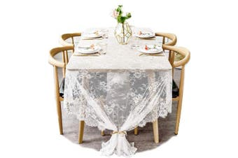 (60Wx120L) - BOXAN 150cm x 300cm Gorgeous White Lace Tablecloth Overlay Rose Vintage Embroidered, Romantic Boho Wedding Reception Table Decor, Baby & Bridal Shower Décor, Elegant Chic Outdoor Tea Party Tablecover