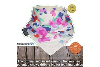 (Cream) - The Original Chewy Teething Bib : Exclusive Joules Range | Winter Bloom with Cream Teether by CHEEKY CHOMPERS