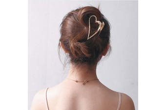 (Heart-Gold) - ACCGLORY Vintage Hollow Hair claw Metal Hair Clamps for Women,Gold Plated Heart Shape(Heart-Gold)