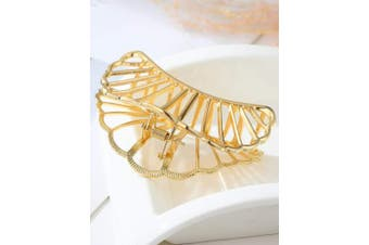 (Black+Fan-Gold) - ACCGLORY Hollow Vintage Metal Hair Clips Strong Jaw Clips Clamps Non-Slip Hair Barrette for Women Thick Hair (Black+Fan-Gold)