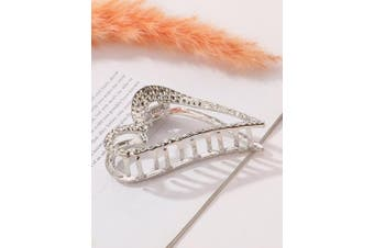 (Heart-Silver) - ACCGLORY Silver Plated Metal Hair Claw Vintage Hollow Hair Clip Clamps for Girls and Women(Heart-Silver)