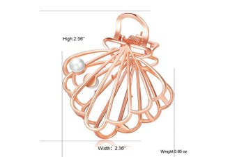 (Shell-Rose Gold) - ACCGLORY Vintage Claw Metal Clamps Hollow Shell Hair Jaw Claw for women(Shell-Rose Gold)
