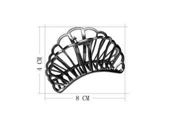 (black) - ACCGLORY Hollow Vintage Metal Hair Clips Strong Jaw Non-Slip Hair Barrette for Women Thick Hair (Black)