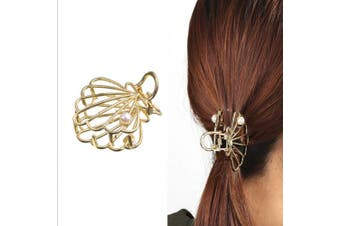 (Shell-Gold) - ACCGLORY Gold Hair Claw Vintage Hollow Metal Hair Jaw Clips for Women (Shell-Gold)