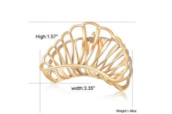 (Fan Gold +Fan Rose Gold) - ACCGLORY Metal Hair Clips Strong Non-Slip Hair Barrette For Women Thick Hair (Fan Gold +Fan Rose Gold)