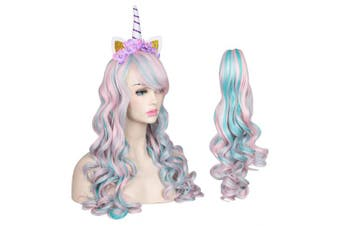 (Pink/Light Blue) - ColorGround Long Multicolor Cosplay Wig and Tail for High-end Theme Party (Light Pink/Light Blue)