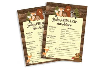 50 Baby Shower Advice & Prediction Cards for Mom Cute Rustic Woodland Forest Animals Baby Shower (50-Cards)