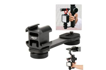 (Black) - Ulanzi PT-3 3 in 1 Triple Cold Shoe Mounts Plate, Microphone Led Video Light Extension Stand Compatible for DJI OSMO Mobile 2/Zhiyun Smooth 4/Feiyu Vimble 2 Gimbal