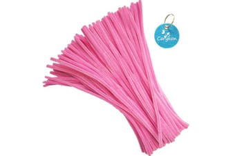 (Pink) - Carykon 100 PCS Fuzzy Chenille Stems Pipe Cleaners for Arts and Crafts (Pink)