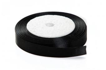 (1cm  x 25 yards, black) - Solid Colour Satin Fabric Ribbon (Black, 1cm x 25 Yards)