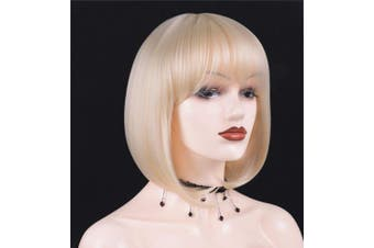 (Platinum Blonde) - Annivia Platinum Blonde Short Wig for White Women 30cm Quality Cosplay Blonde Wig Natural As Real Human Hair Heat Resistant Synthetic Short Bob Wigs with Bangs (Blonde) …