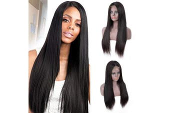 (36cm ) - IUEENLY Brazilian Straight Lace Front Wigs Human Hair 13x 4 Lace Front Wig For Black Women Pre Plucked with Baby Hair Natural Black 150% Density (36cm )