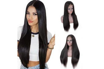 (41cm ) - IUEENLY Brazilian Straight Lace Front Wigs Human Hair 13x 4 Lace Front Wig For Black Women Pre Plucked with Baby Hair Natural Black 150% Density (41cm )