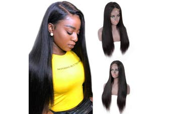 (60cm ) - IUEENLY Brazilian Straight Lace Front Wigs Human Hair 13x 4 Lace Front Wig For Black Women Pre Plucked with Baby Hair Natural Black 150% Density (60cm )
