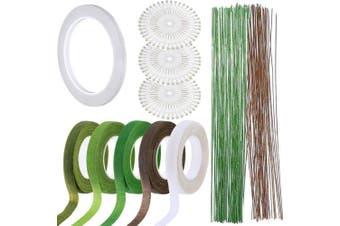 (6) - Woohome 9 PCS Floral Arrangement Tool Kit, 5 PCS Floral Tape Stem Wrap, 26 Gauge Floral Stem Wire, Double-Sided Tape and 120 PCS Ball Head Pins for Wedding Bouquet DIY