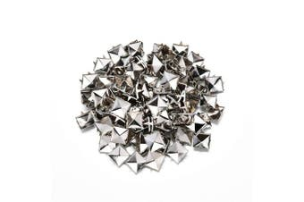 Beautyflier 100Pcs 10MM Square Pyramid Studs Silver 4 Prongs Nailhead Spikes Punk Rivets for DIY Leathercraft Clothes Belt Bag Shoes Jewellery Decoration