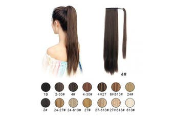 (4# Dark Brown) - BARSDAR Ponytail Extension 70cm Long Straight Wrap Around Hair Piece for Women Synthetic Hair for Daily Use (4# Dark Brown)