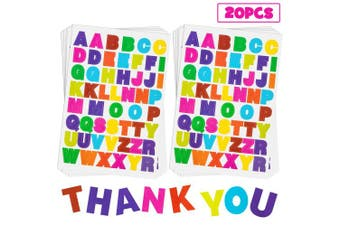 (Colored Letter Stickers 1) - 20 Sheets Alphabet Letter Stickers 10 Colours Self Adhesive Sticker Colourful PU Material Convex Feeling (Coloured Letter Stickers 1)
