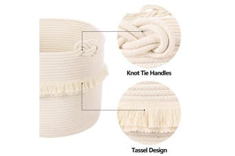 (Large) - Large Woven Storage Baskets – 41cm x 33cm Cotton Rope Decorative Hamper for Nursery, Toys, Blankets, and Laundry, Cute Tassel Nursery Decor - Home Storage Container