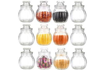 12 glass storage jars, spice jars, sweet ribbed candy jar, 80 ml, storage container for storing ingredients and spices