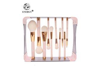 (11Pcs Makeup Pink Brushes Set with Magnet) - ENERGY Professional Makeup Brushes Set with Magnet Makeup Brush Drying Rack Wood Handle Metal Stand Premium Powder Blusher Eyeshadow Concealer Blending Brush Kit(pink,Metal Magnet Organiser)