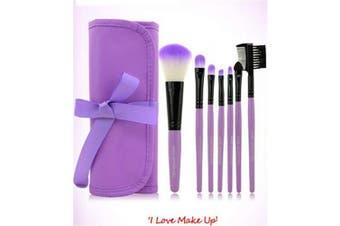 (Brush2) - Cinlla 7 Piece Premium Professional Synthetic Kabuki Makeup Brush Set Make Up Eye Shadow Blush Brush Cosmetic Kit with Pouch (Purple)