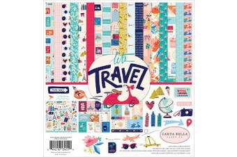 Carta Bella Paper Company CBLT100016 Let's Travel Collection Kit Paper Pink, Purple, Orange, Blue, Green, Black