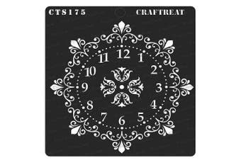 """(Ornate Clock 6""""X6"""") - CrafTreat Clock Stencils for painting on Wood, Canvas, Paper, Fabric, Floor, Wall and Tile - Ornate Clock - 15cm x 15cm - Reusable DIY Art and Craft Stencils - Clock Face Stencil"""