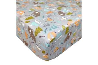 (One Crib Sheet) - Brandream Crib Sheets for Boys Woodland Bear Fox Arrow Baby Nursery Bedding, 100% Soft Cotton