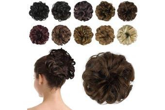 BARSDAR Messy Hair Scrunchies Hair Bun Extensions Hairpiece for Women Updo ponytail Extensions Scrunchie Hair Piece Hair Accessories - A06 Medium Chestnut Brown Scrunchie Hairpiece