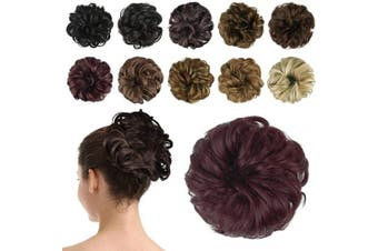 BARSDAR Hair Bun Extensions Hairpiece Hair Rubber Scrunchies for Women Ponytail Extensions Updo Curly Messy Bun -wine red