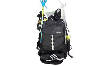 (Black) - Athletico Lacrosse Bag - Extra Large Lacrosse Backpack - Holds All Lacrosse or Field Hockey Equipment - Two Stick Holders and Separate Cleats Compartment