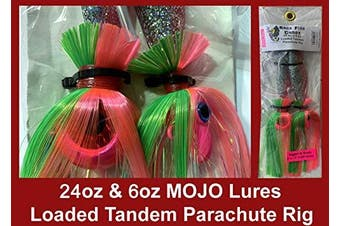 (Pink Mojo on Electric Chicken Shad) - Blue Water Candy - Rock Fish Candy 710ml & 180ml Mojo Lures Loaded with 23cm Swimbait Shad Bodies Tandem Parachute Rigged & Ready