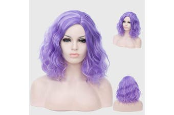 (Purple Highlight) - Alacos Fashion 35cm Short Curly Full Head Wig Heat Resistant Daily Dress Carnival Party Masquerade Anime Cosplay Wig +Wig Cap (Purple Highlight)