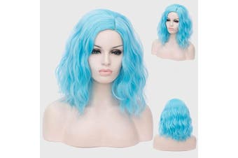 (Ice Blue) - Alacos Fashion 35cm Short Curly Full Head Wig Heat Resistant Daily Dress Carnival Party Masquerade Anime Cosplay Wig +Wig Cap (Ice Blue)
