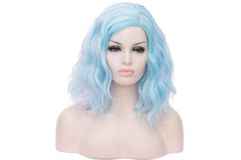 (Pinky Blue Highlight) - Alacos Fashion 35cm Short Curly Full Head Wig Heat Resistant Daily Dress Carnival Party Masquerade Anime Cosplay Wig +Wig Cap (Pinky Blue Highlight)
