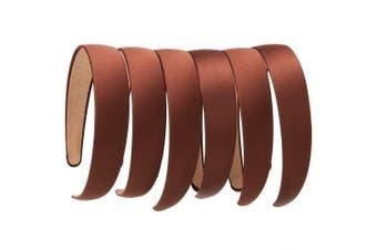 (6 PCS Brown) - LONEEDY 6 PCS Hard Headbands, 2.5cm Wide Non-slip Ribbon Hairband for Women
