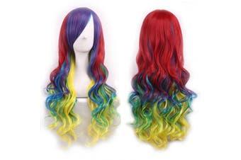 (Rainbow Color) - AneShe 70cm Long Rainbow Big Wavy Curly Hair Harajuku Style Lolita Cosplay Colourful Wigs for Women (Rainbow Colour)