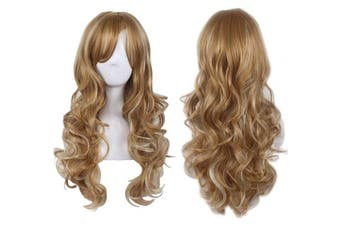 (Golden/Blonde) - AneShe 70cm Wig Women's 2 Tones Blonde Mixed Synthetic Hair Long Wavy Curly Hair Wigs (Golden/Blonde)