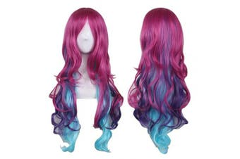 (Hot Pink+Blue) - AneShe Cosplay Wigs for Women Hot Pink Mixed Blue Long Wavy Wig Harajuku Style Heat Resistant Hair Full Wigs