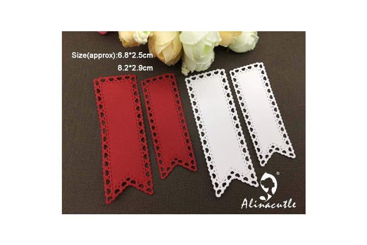2pc Banner Tag Heart Edge Fish Tail Flag Cutting Dies,Letmefun Metal Cutting Dies Stencils Scrapbooking Paper Craft Album Card Punch Art Cutter