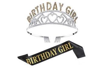 (Gold) - Chengu Birthday Girl Glitter Crown Rhinestone Crystal Decor Headband with Birthday Girl Sash (Gold)