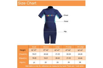 (Small, Blue) - NATYFLY Kids Wetsuit Premium 2mm Neoprene Short Sleeve Youth Shorty Wetsuit for Girls Boys Child