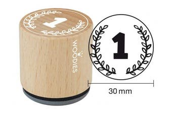 "WOODIES School Themed Stamp ""Number 2.5cm 2.5cm - 0.5cm Impression (071888)"