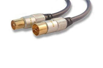C4A® 1m TV Aerial Lead M-F Gold Plated Connectors/Fully Screened Cable