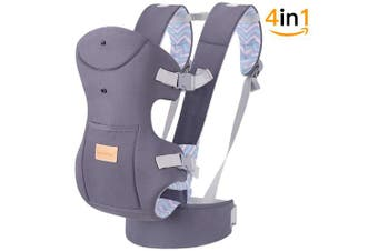 (gray) - TIANCAIYIDING Ergonomic Baby Carrier Wrap with Hip Seat Soft Breathable Cotton Hood Air Mesh Front and Backpack Grey