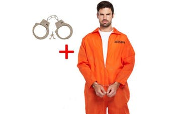 Mens Orange Prisoner Overalls Boiler Suit Convict Robber Burglar Prison Break Gaol TV Fancy Dress Costume Outfit - U38479